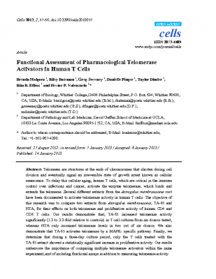 Functional Assessment of Pharmacological Telomerase Activators in Human T cells