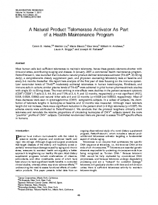 A Natural Product Telomerase Activator As Part